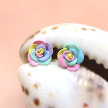 Load image into Gallery viewer, Polymer clay handmade pastel rose studs