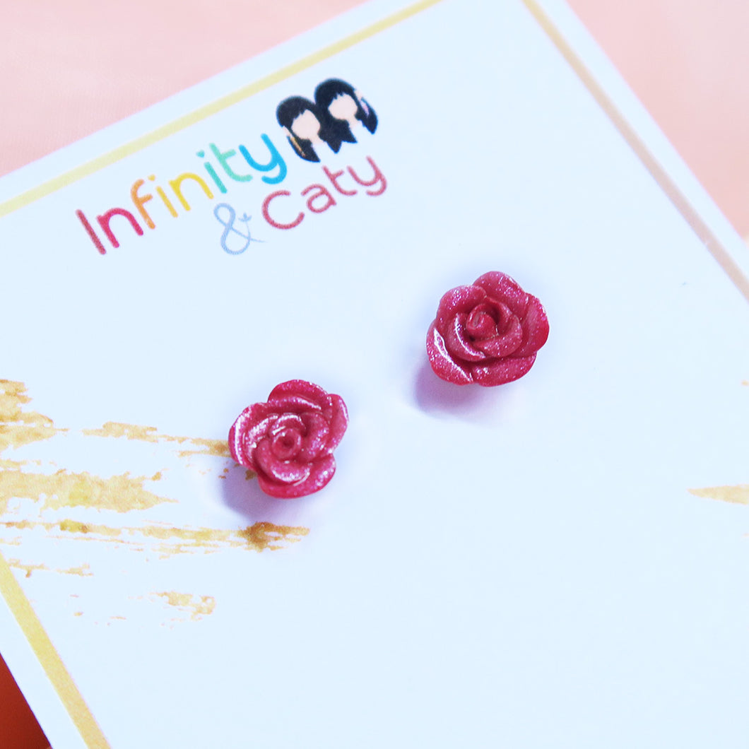 Polymer clay handmade rose earring studs