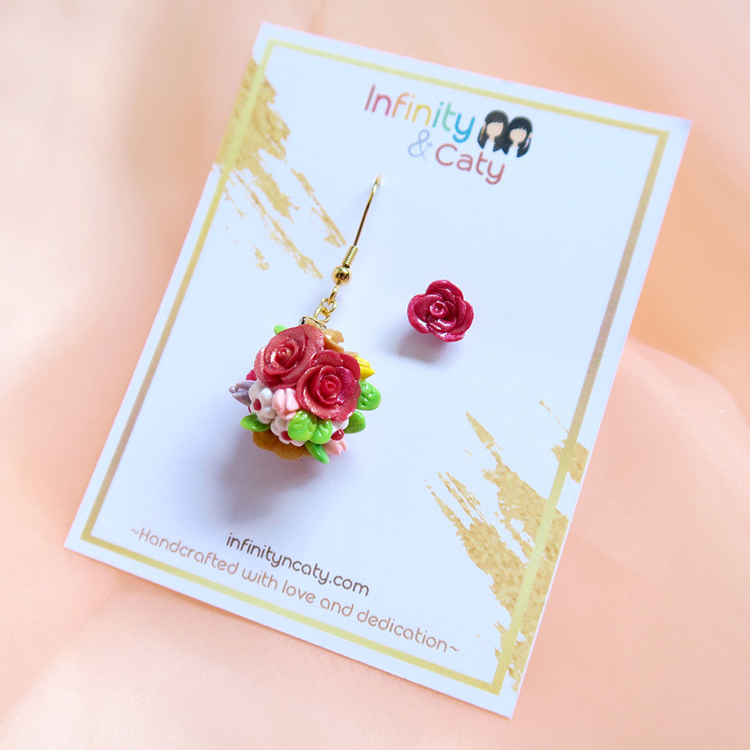 *PRE-ORDER* Asymmetric Rose Ball Earrings