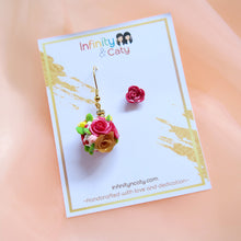 Load image into Gallery viewer, *PRE-ORDER* Asymmetric Rose Ball Earrings