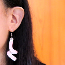 Load image into Gallery viewer, Asymmetric Baby Pink Swirl Earrings