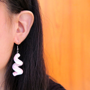 Asymmetric Baby Pink Swirl Earrings