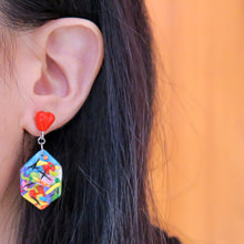 Load image into Gallery viewer, Life's an Art with Heart Asymmetric Earrings