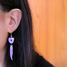 Load image into Gallery viewer, Ivory Purple Heart Earrings