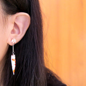 Minimalist Fiery Ivory Swirl Earrings