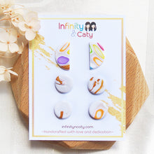 Load image into Gallery viewer, Handmade polymer clay earrings Singapore Santorini Vibes Stud Pack