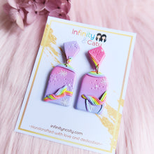 Load image into Gallery viewer, Polymer clay somewhere over the rainbow pastel pink purple with rainbow decorations and patterned earrings