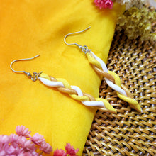 Load image into Gallery viewer, Handmade yellow and gold braided polymer clay earrings