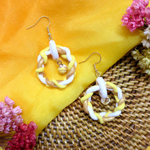 Load image into Gallery viewer, Handmade yellow and gold braided rounded polymer clay earrings