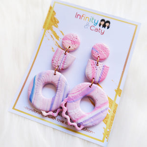 Polymer Clay Sweet Pink Fantasy Earrings