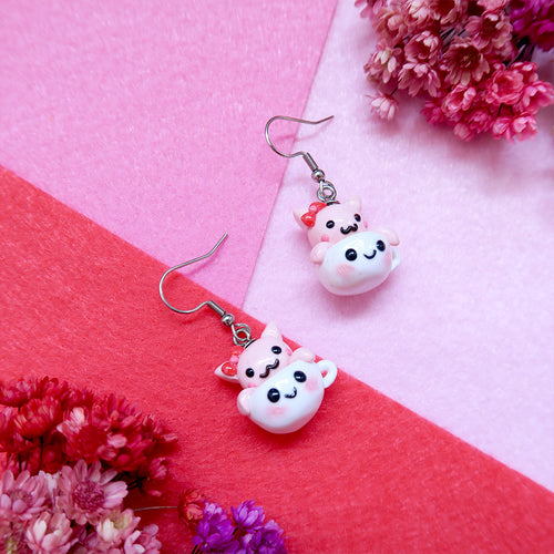 Cute pink kitty inside white teacup earrings