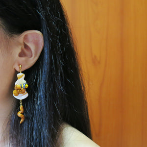 Buzzing bee floral sunshine yellow and gold with hearts earrings sweet style with teardrop floral braids wear on demo