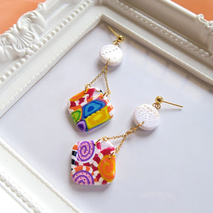 Rounded Square Candy Block Earrings