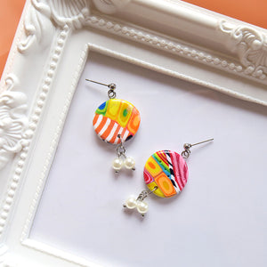Round Candy Block Earrings