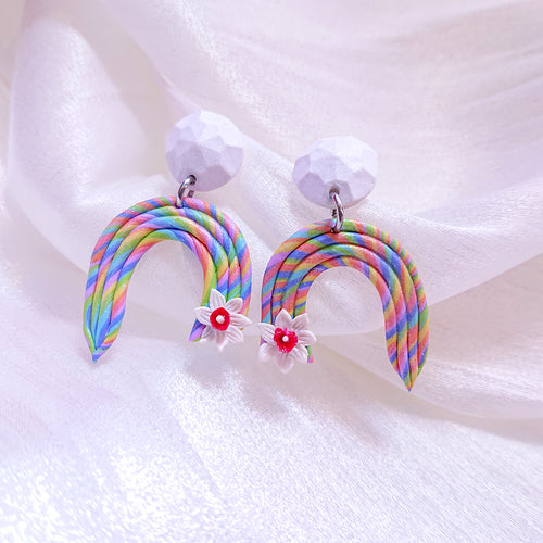 Handmade polymer clay earrings Singapore  -  Pastel Rainbow Floral