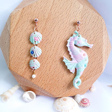 Load image into Gallery viewer, Santorini Vibes - Asymmetrical Seahorse/Seashells