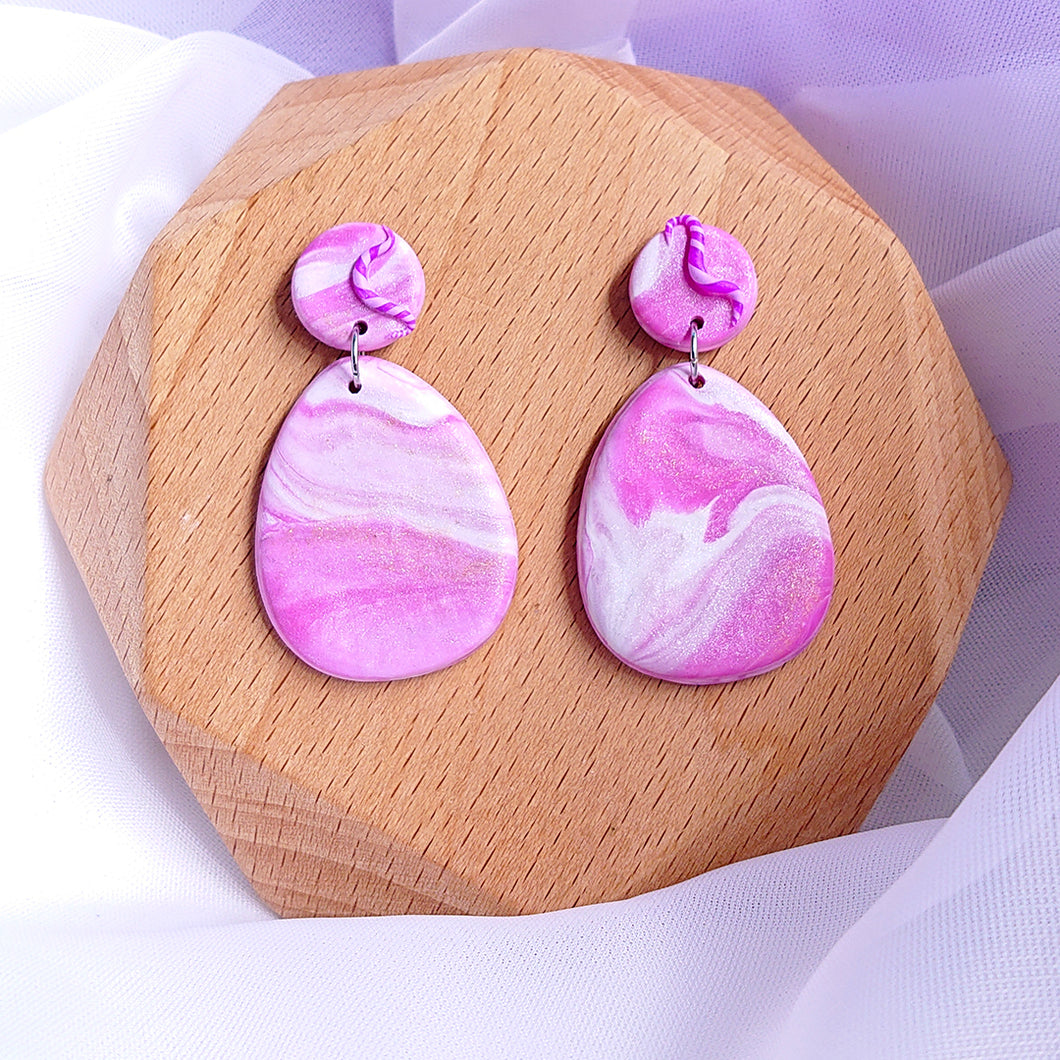 Handmade polymer clay earrings Singapore  - Purple  Magenta  Dreamy Ocean