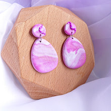 Load image into Gallery viewer, Handmade polymer clay earrings Singapore  - Purple  Magenta  Dreamy Ocean