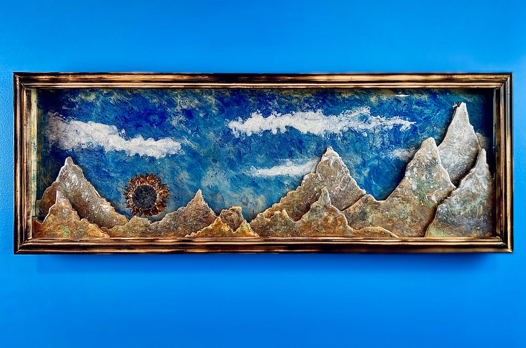 Epoxy Mountain Shadowbox with Sunflower Sunset