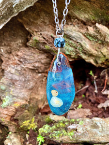 Ocean Terrarium Oak Wood Necklace