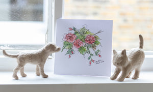 Pink Roses Card by Guan - Home(less) Made