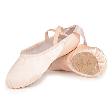 Chaussons demi-pointes satin avec ruban rose