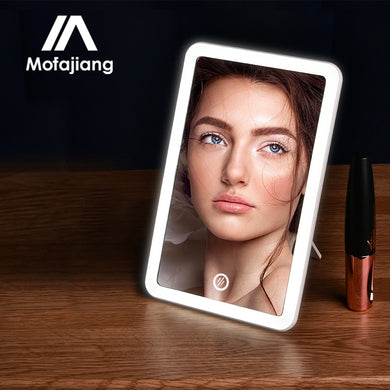 Miroir de maquillage rectangle avec lumières LED
