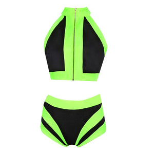 Ensemble Top + Short jaune fluorescent et noir
