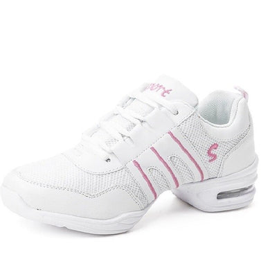 Baskets Sneakers Jazz Hip Hop Fitness pour adulte 2 coloris au choix: blanc & rose, blanc & bleu - Dance Store