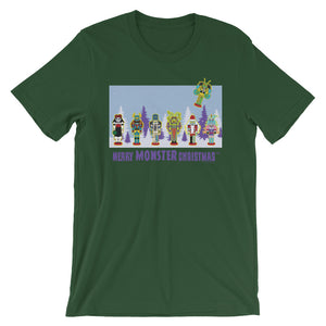Monster Crackers Merry Monster Christmas Blue Trees Tee - All Gender
