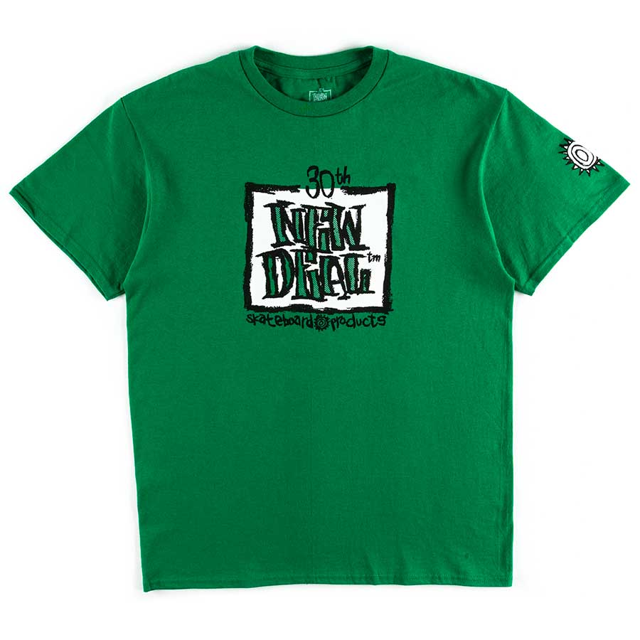 New Deal Skateboards ND WTF Holiday 2019 30th Anniversary Napkin Logo   S/S T Shirt Green Extra Large