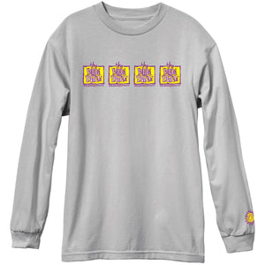 New Deal Original Napkin 4-Bar L/S Tee Silver