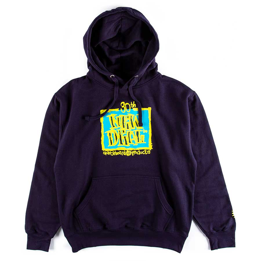 New Deal Skateboards ND WTF Holiday 2019 30th Anniversary Napkin Logo Hooded Sweat Navy  2 Extra Large