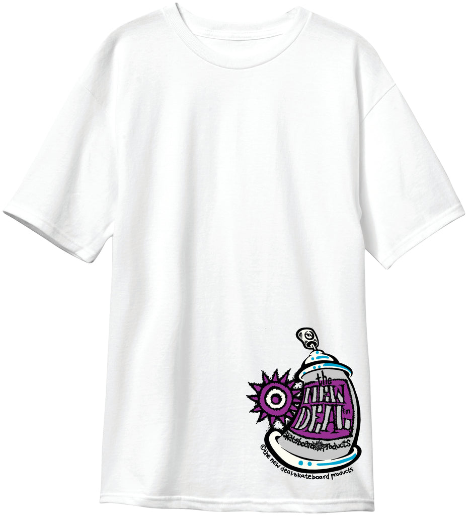 New Deal Spray Can  S/S Tee White