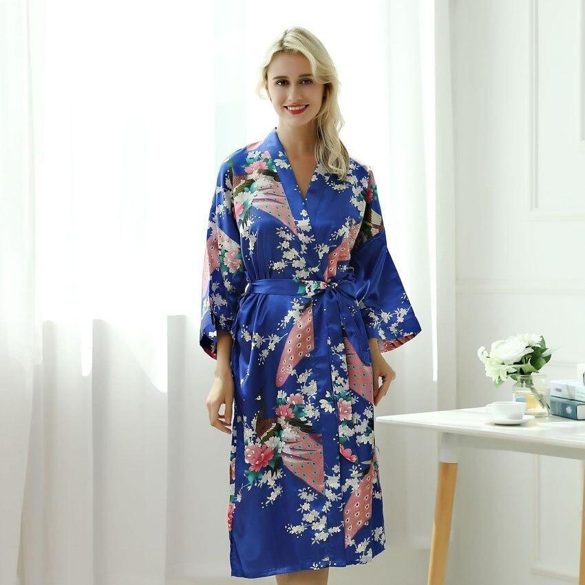 Blue Kimono Robe With Bright Flowers - Women