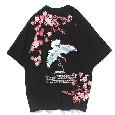 Japanese Floral Shirt - Crane - Black / M