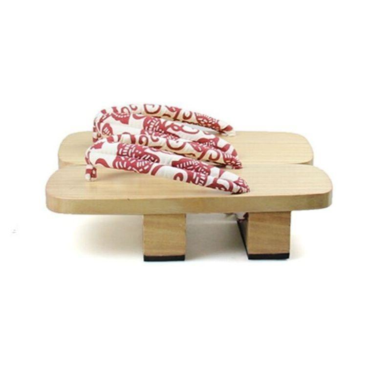 Japanese Geta Flip Flops In Light Wood - Red And White Hanao
