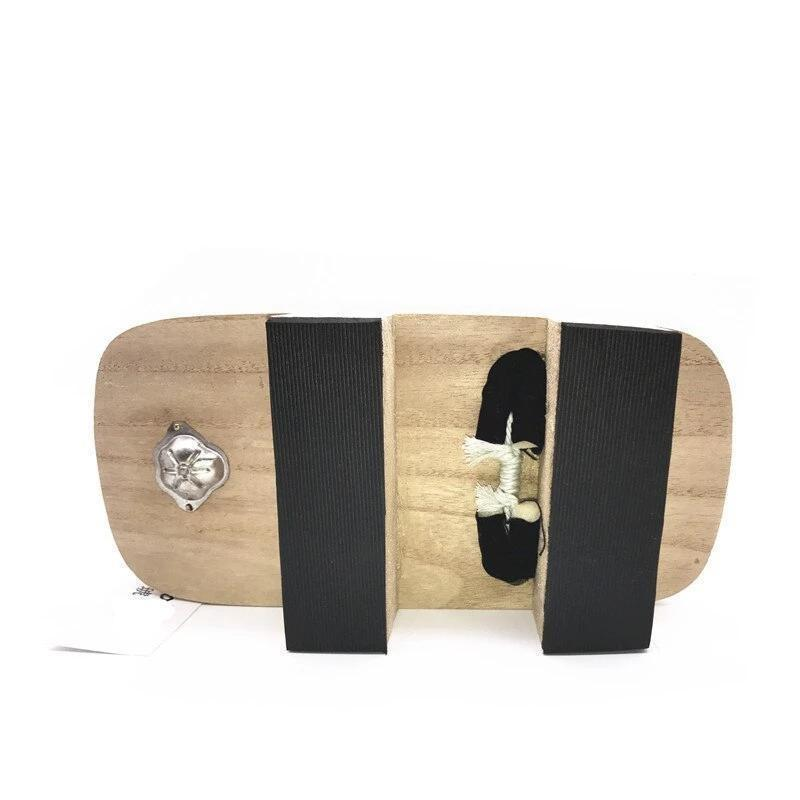 Japanese Geta In Light Wood - Black Hanao