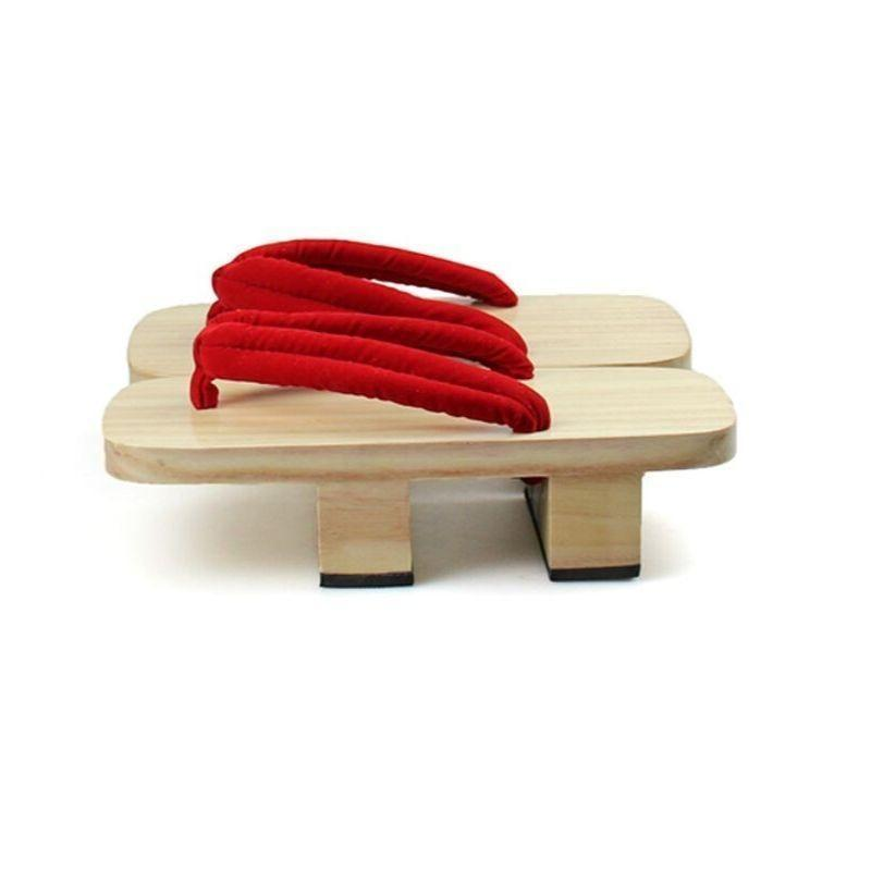 Japanese Geta Sandals In Light Wood - Red Hanao