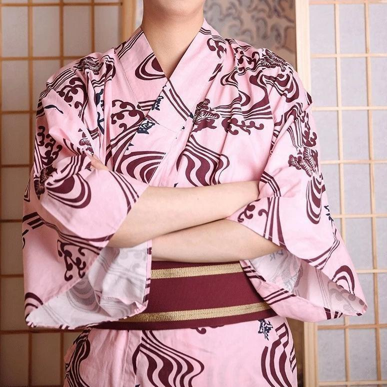 Japanese Pink Kimono For Men - One Size