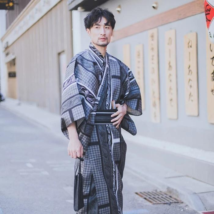 Japanese Summer Yukata for Men - Gingko Biloba
