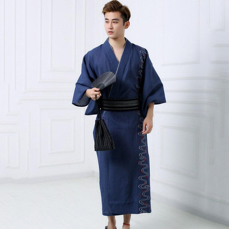 Men's Cotton Yukata - Blue Color - M