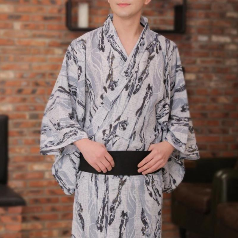 Men's Japanese Kimono Color Grey