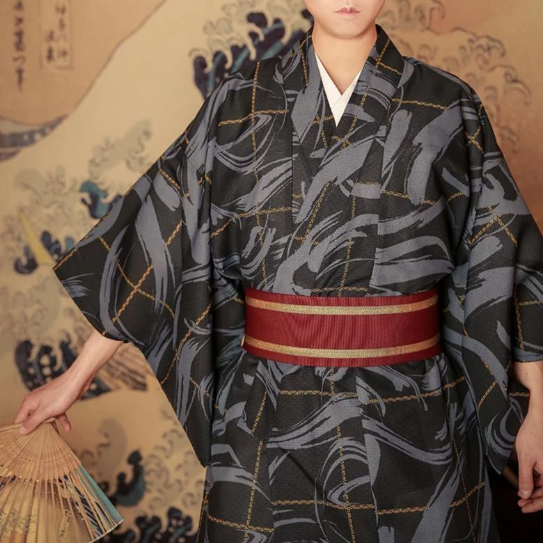 Men's Japanese Kimono dress In Shodou - One Size