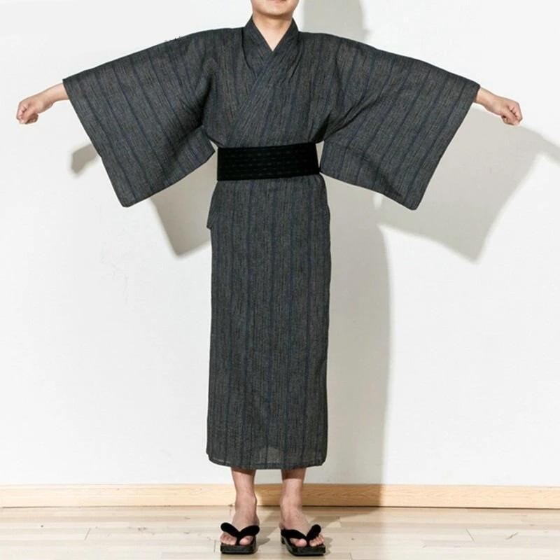 Men's Yukata Robe - Haiiro - M