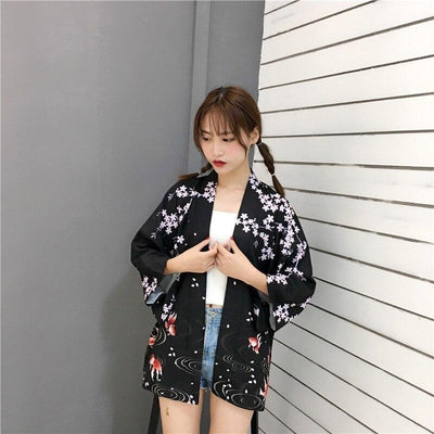 Women's Black Floral Kimono Cardigan - Kingyo - One Size