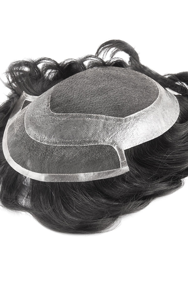 French Lace Center and Front Poly Around Stock Hairpieces For Men