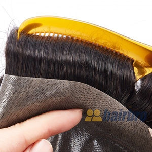 Thin Poly Base with French Lace Front Hair Replacement System For Men