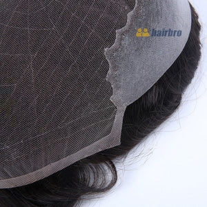 French Lace with Wide Poly Side and Back Stock Hair System For Men