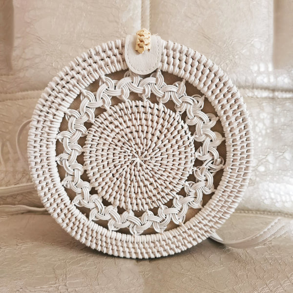 White Braid Rattan bag